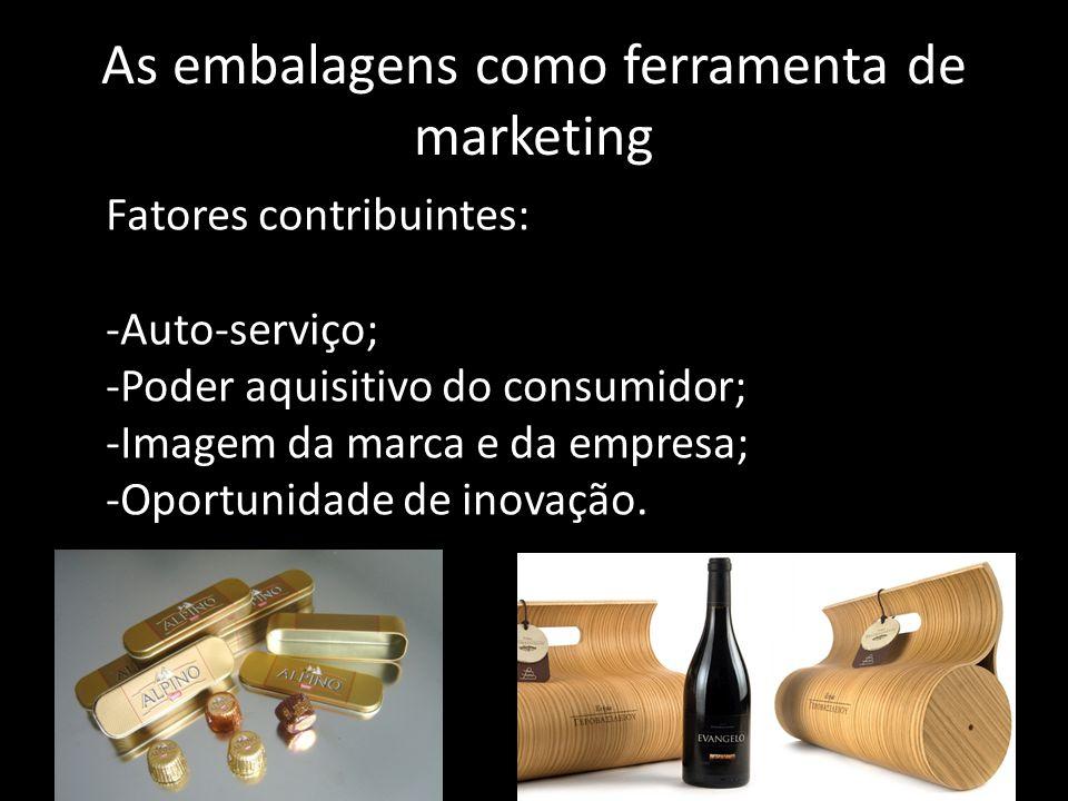 As embalagens como ferramenta de marketing Fatores contribuintes: -Auto-serviço; -Poder aquisitivo do consumidor; -Imagem da marca e da empresa; -Opor