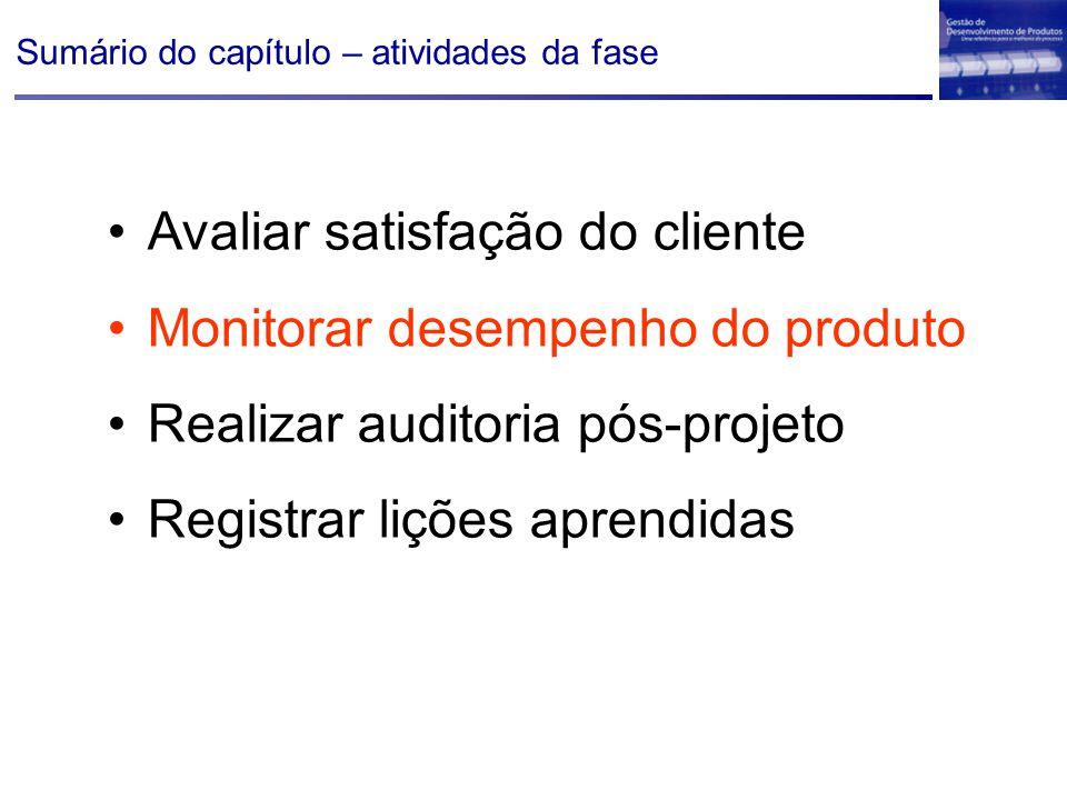 Sumário do capítulo – atividades da fase Avaliar satisfação do cliente Monitorar desempenho do produto Realizar auditoria pós-projeto Registrar lições