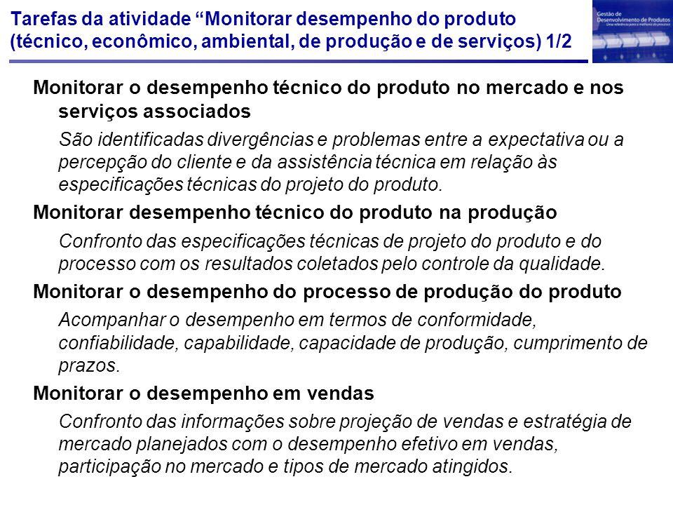 """Tarefas da atividade """"Monitorar desempenho do produto (técnico, econômico, ambiental, de produção e de serviços) 1/2 Monitorar o desempenho técnico do"""