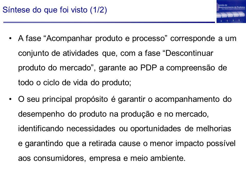 """Síntese do que foi visto (1/2) A fase """"Acompanhar produto e processo"""" corresponde a um conjunto de atividades que, com a fase """"Descontinuar produto do"""