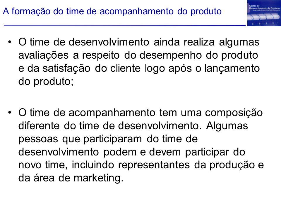 A formação do time de acompanhamento do produto O time de desenvolvimento ainda realiza algumas avaliações a respeito do desempenho do produto e da sa