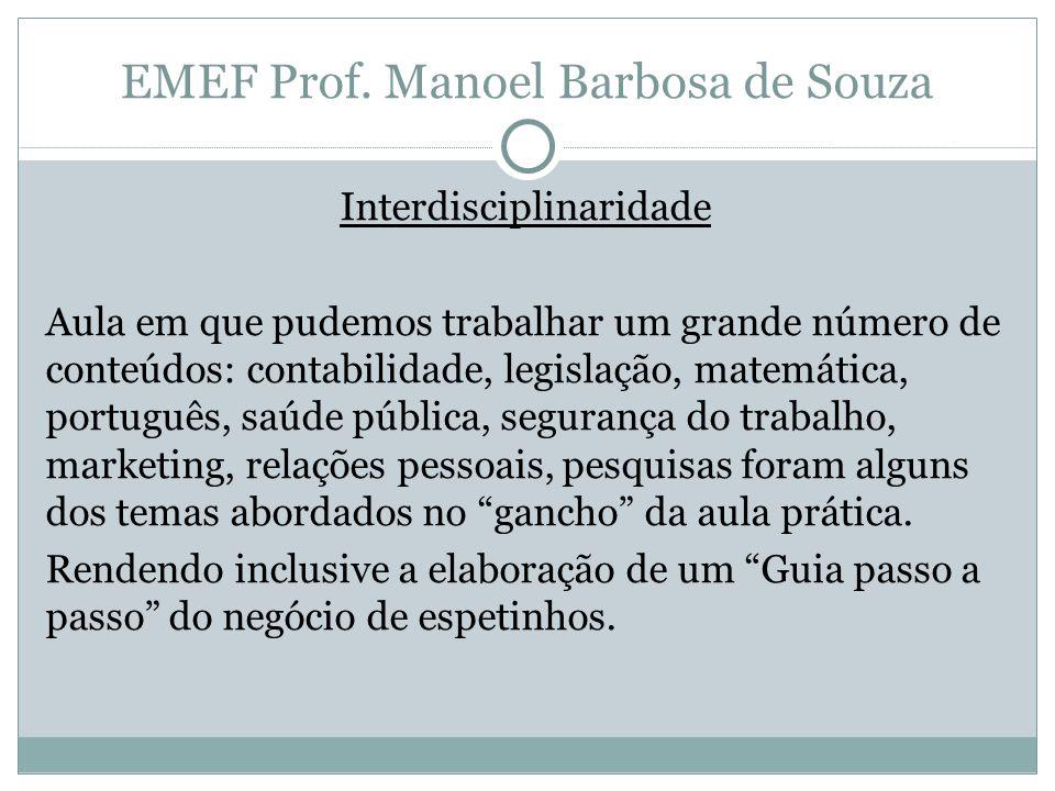 Interdisciplinaridade Aula em que pudemos trabalhar um grande número de conteúdos: contabilidade, legislação, matemática, português, saúde pública, se