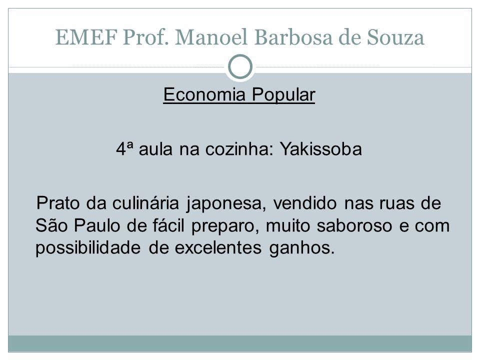 EMEF Prof. Manoel Barbosa de Souza Economia Popular 4ª aula na cozinha: Yakissoba Prato da culinária japonesa, vendido nas ruas de São Paulo de fácil