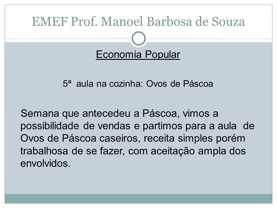 EMEF Prof. Manoel Barbosa de Souza Economia Popular 5ª aula na cozinha: Ovos de Páscoa Semana que antecedeu a Páscoa, vimos a possibilidade de vendas