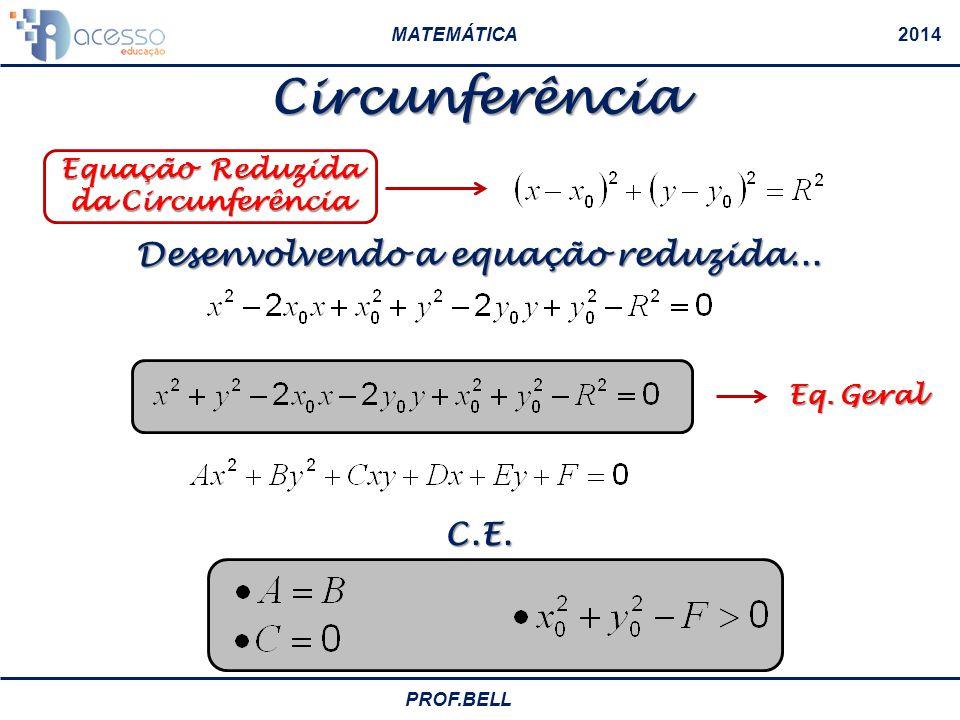 MATEMÁTICA2014 PROF.BELL Circunferência Pitágoras! Equação Reduzida da Circunferência