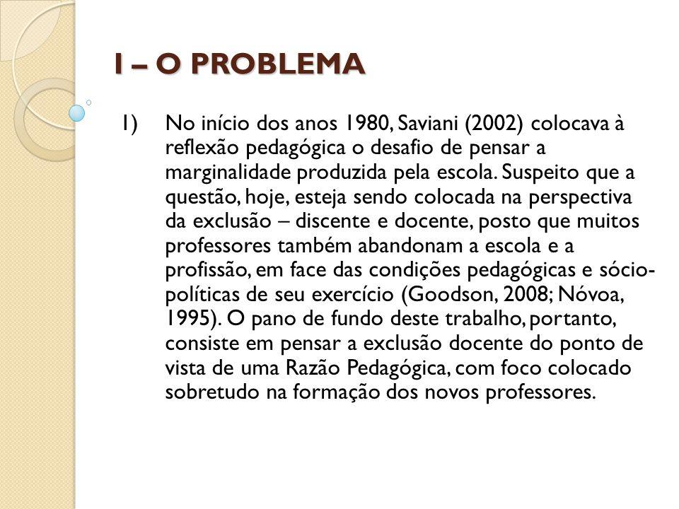 I – O PROBLEMA 1) No início dos anos 1980, Saviani (2002) colocava à reflexão pedagógica o desafio de pensar a marginalidade produzida pela escola. Su
