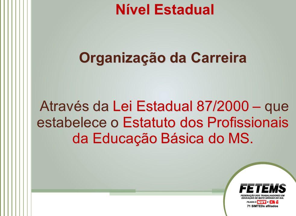 Nível Estadual Organização da Carreira Através da Lei Estadual 87/2000 – que estabelece o Estatuto dos Profissionais da Educação Básica do MS. Através