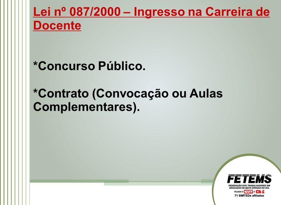 Lei nº 087/2000 – Ingresso na Carreira de Docente *Concurso Público. *Contrato (Convocação ou Aulas Complementares).