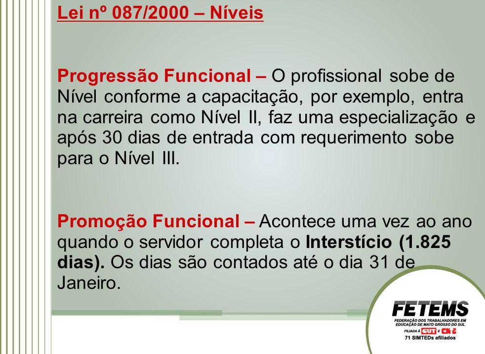 Lei nº 087/2000 – Níveis Progressão Funcional – O profissional sobe de Nível conforme a capacitação, por exemplo, entra na carreira como Nível II, faz uma especialização e após 30 dias de entrada com requerimento sobe para o Nível III.