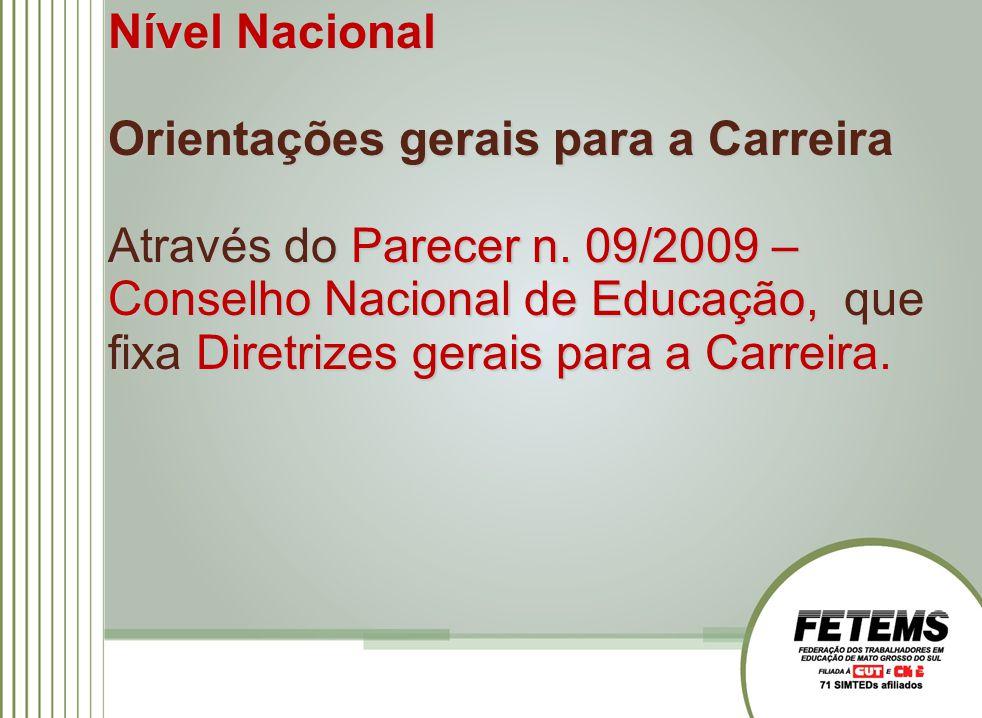 Nível Nacional Orientações gerais para a Carreira Através do Parecer n.