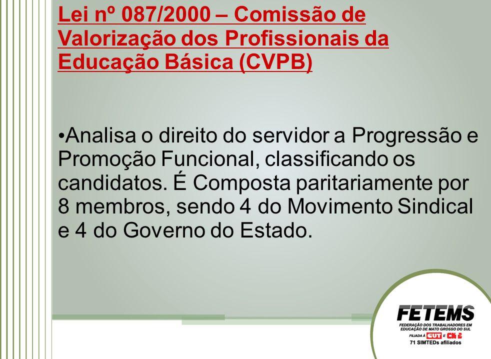 Lei nº 087/2000 – Comissão de Valorização dos Profissionais da Educação Básica (CVPB) Analisa o direito do servidor a Progressão e Promoção Funcional, classificando os candidatos.