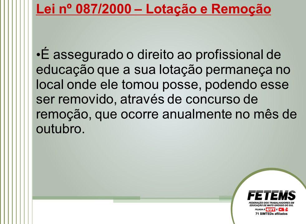 Lei nº 087/2000 – Lotação e Remoção É assegurado o direito ao profissional de educação que a sua lotação permaneça no local onde ele tomou posse, pode