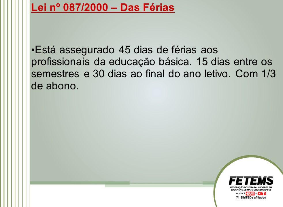 Lei nº 087/2000 – Das Férias Está assegurado 45 dias de férias aos profissionais da educação básica.