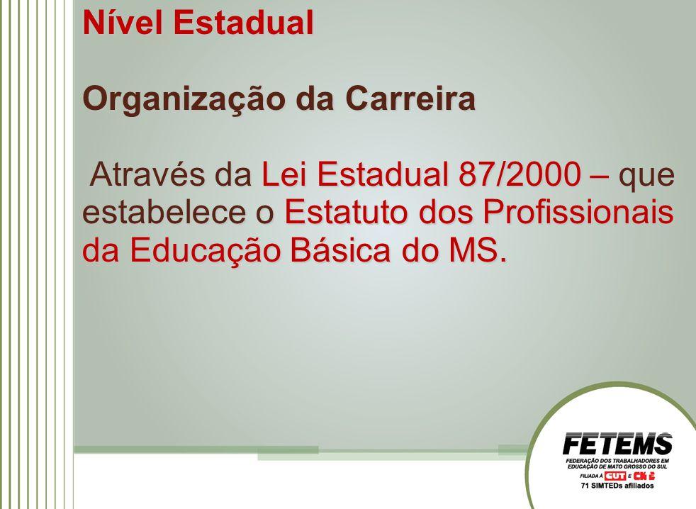 Nível Estadual Organização da Carreira Através da Lei Estadual 87/2000 – que estabelece o Estatuto dos Profissionais da Educação Básica do MS.