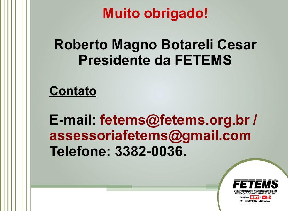 Muito obrigado! Roberto Magno Botareli Cesar Presidente da FETEMS Contato E-mail: fetems@fetems.org.br / assessoriafetems@gmail.com Telefone: 3382-003
