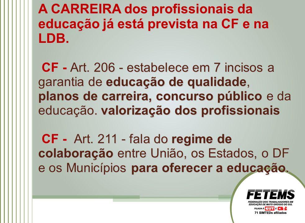 A CARREIRA dos profissionais da educação já está prevista na CF e na LDB. CF - Art. 206 - estabelece em 7 incisos a garantia de educação de qualidade,