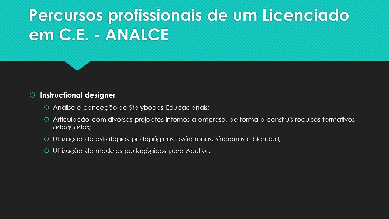 Percursos profissionais de um Licenciado em C.E.