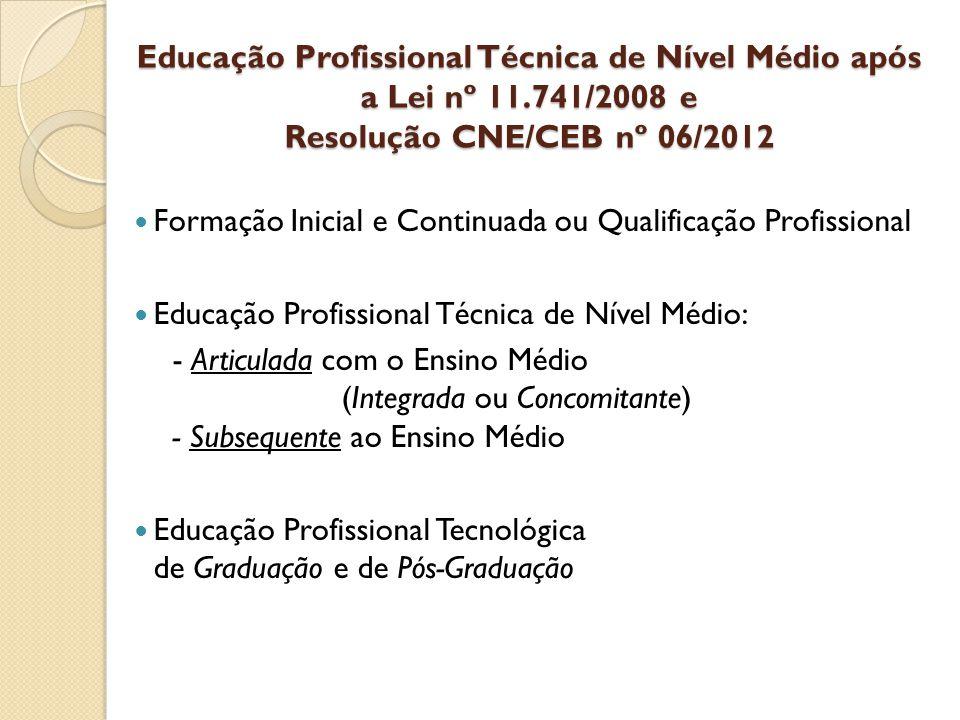 Educação Profissional Técnica de Nível Médio após a Lei nº 11.741/2008 e Resolução CNE/CEB nº 06/2012 Formação Inicial e Continuada ou Qualificação Pr