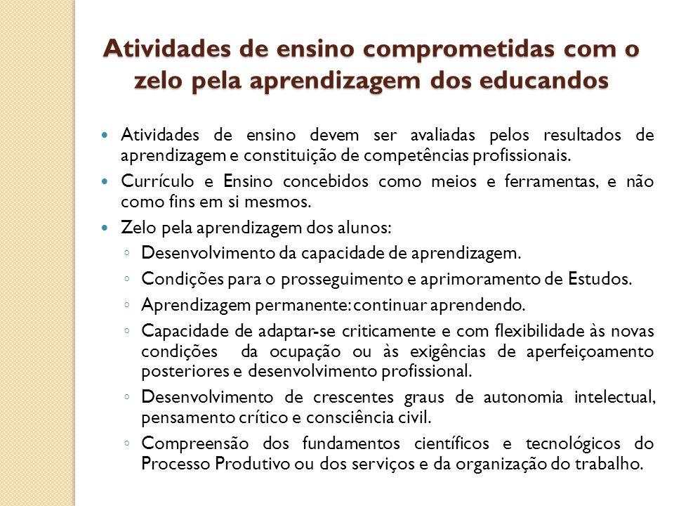 Atividades de ensino comprometidas com o zelo pela aprendizagem dos educandos Atividades de ensino devem ser avaliadas pelos resultados de aprendizage