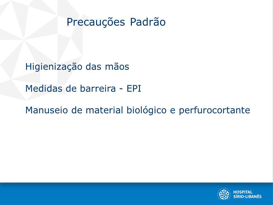Precauções Padrão Higienização das mãos Medidas de barreira - EPI Manuseio de material biológico e perfurocortante