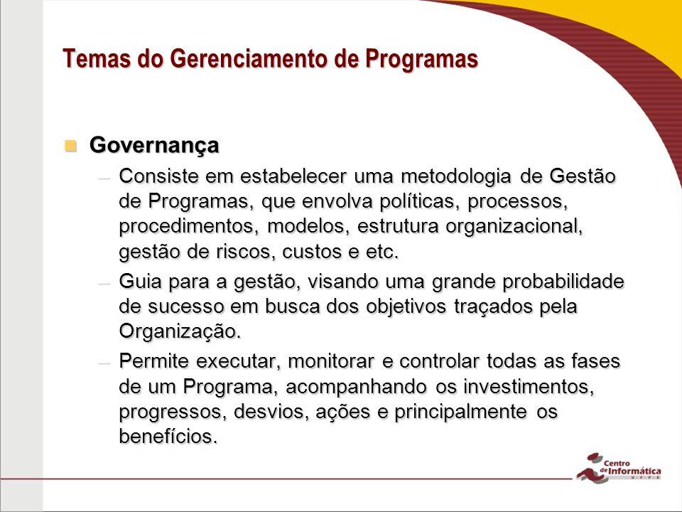 Governança Governança –Consiste em estabelecer uma metodologia de Gestão de Programas, que envolva políticas, processos, procedimentos, modelos, estru