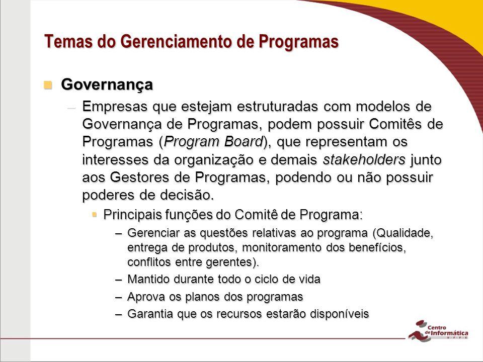 Governança Governança –Empresas que estejam estruturadas com modelos de Governança de Programas, podem possuir Comitês de Programas (Program Board), q