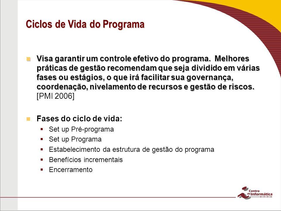 Ciclos de Vida do Programa Visa garantir um controle efetivo do programa. Melhores práticas de gestão recomendam que seja dividido em várias fases ou