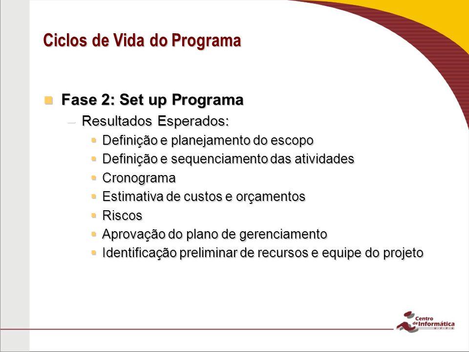 Fase 2: Set up Programa Fase 2: Set up Programa –Resultados Esperados:  Definição e planejamento do escopo  Definição e sequenciamento das atividade