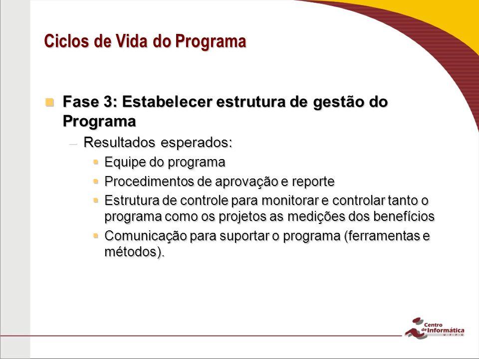 Fase 3: Estabelecer estrutura de gestão do Programa Fase 3: Estabelecer estrutura de gestão do Programa –Resultados esperados:  Equipe do programa 