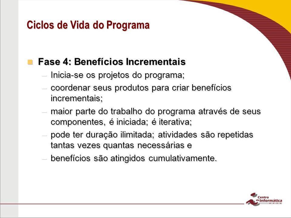 Fase 4: Benefícios Incrementais Fase 4: Benefícios Incrementais –Inicia-se os projetos do programa; –coordenar seus produtos para criar benefícios inc