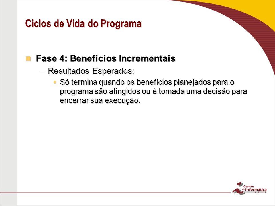 Fase 4: Benefícios Incrementais Fase 4: Benefícios Incrementais –Resultados Esperados:  Só termina quando os benefícios planejados para o programa sã