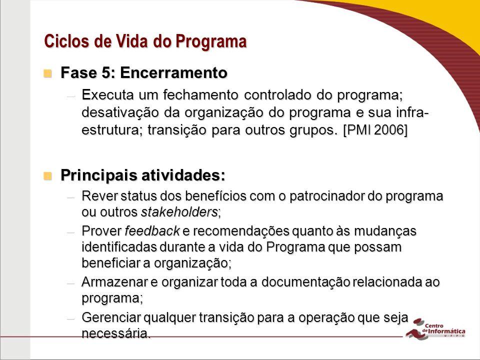 Fase 5: Encerramento Fase 5: Encerramento –Executa um fechamento controlado do programa; desativação da organização do programa e sua infra- estrutura