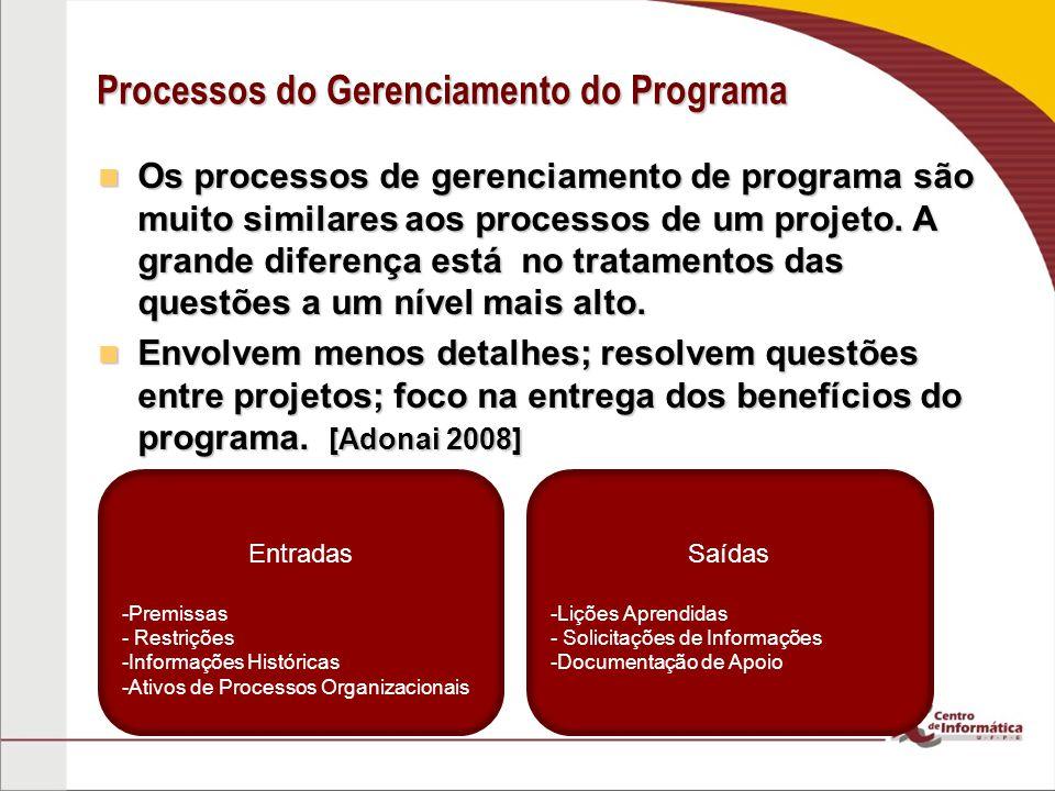 Processos do Gerenciamento do Programa Os processos de gerenciamento de programa são muito similares aos processos de um projeto. A grande diferença e