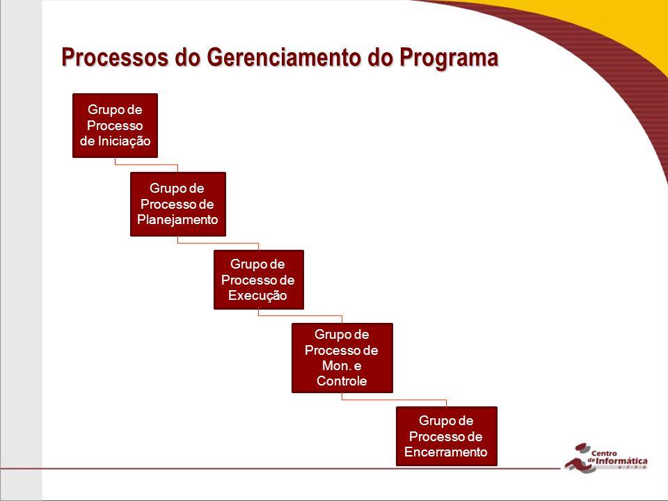 Processos do Gerenciamento do Programa Grupo de Processo de Iniciação Grupo de Processo de Encerramento Grupo de Processo de Planejamento Grupo de Pro
