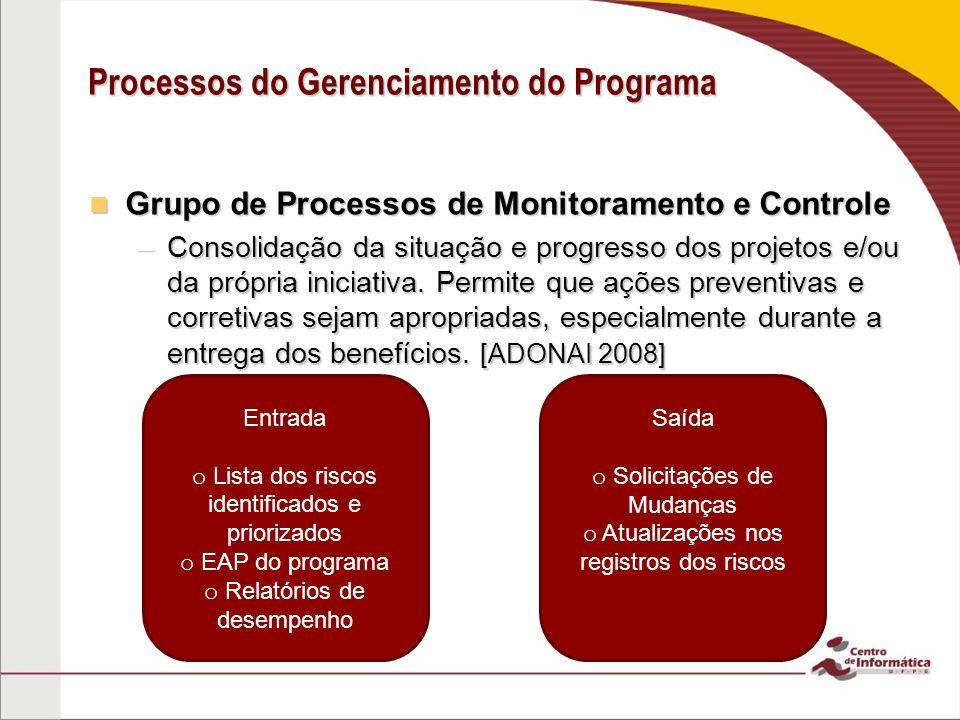 Grupo de Processos de Monitoramento e Controle Grupo de Processos de Monitoramento e Controle –Consolidação da situação e progresso dos projetos e/ou