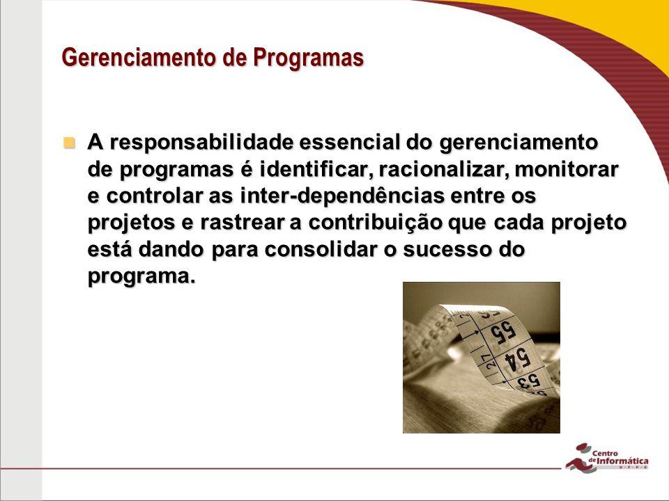 Gerenciamento de Programas A responsabilidade essencial do gerenciamento de programas é identificar, racionalizar, monitorar e controlar as inter-depe