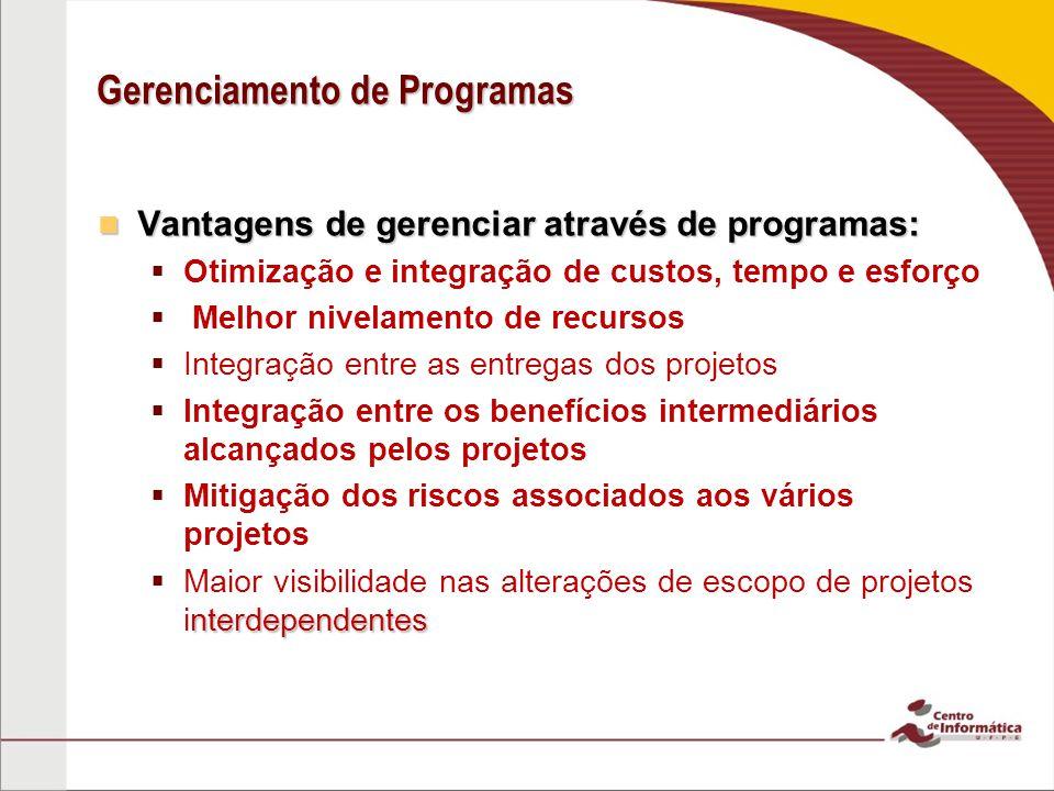 Gerenciamento de Programas Vantagens de gerenciar através de programas: Vantagens de gerenciar através de programas:   Otimização e integração de cu
