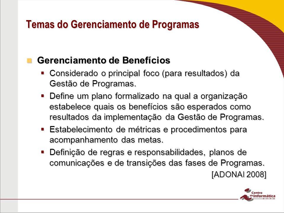 Temas do Gerenciamento de Programas Gerenciamento de Benefícios Gerenciamento de Benefícios  Considerado o principal foco (para resultados) da Gestão