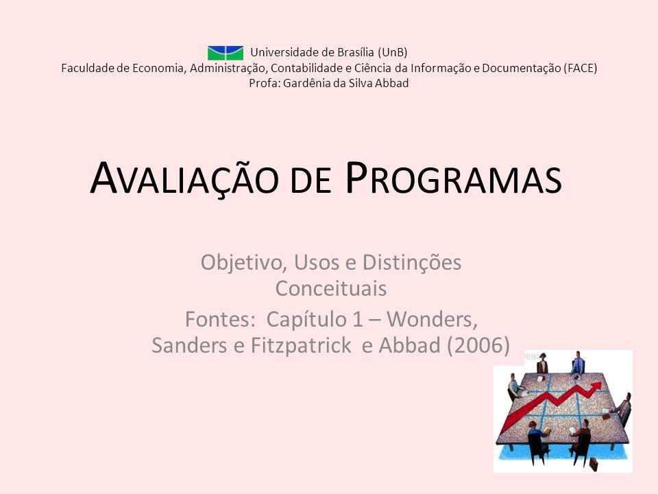 A VALIAÇÃO DE P ROGRAMAS Objetivo, Usos e Distinções Conceituais Fontes: Capítulo 1 – Wonders, Sanders e Fitzpatrick e Abbad (2006) Universidade de Br