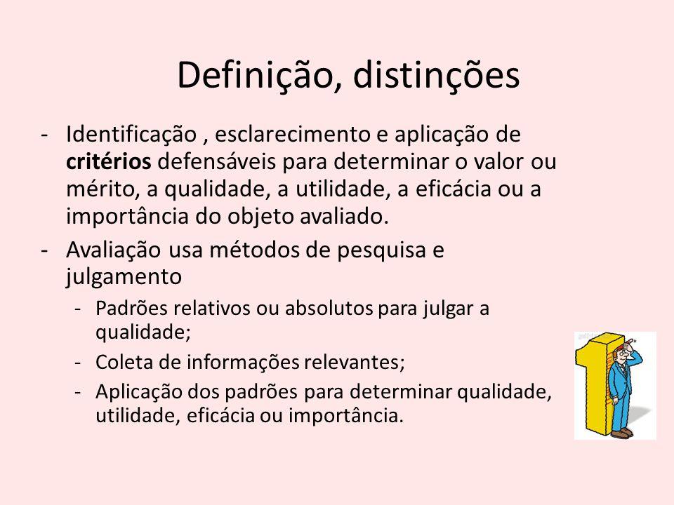 -Identificação, esclarecimento e aplicação de critérios defensáveis para determinar o valor ou mérito, a qualidade, a utilidade, a eficácia ou a impor