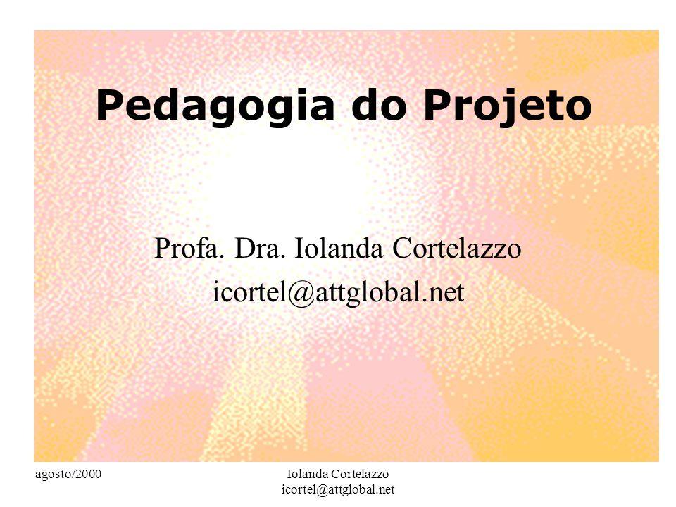 agosto/2000Iolanda Cortelazzo icortel@attglobal.net Realidade externa à escola Os projetos desenvolvidos em ambiente escolar não devem ser desconectados da realidade em que nós, seus participantes, vivemos.