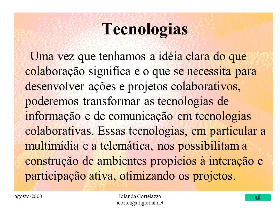 agosto/2000Iolanda Cortelazzo icortel@attglobal.net Realidade externa à escola Os projetos desenvolvidos em ambiente escolar não devem ser desconectad
