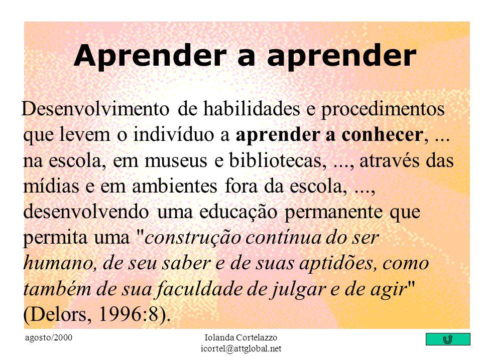 """agosto/2000Iolanda Cortelazzo icortel@attglobal.net Aprender a fazer """"... a atuação gerenciadora do professor é essencial para o aluno aprender a faze"""