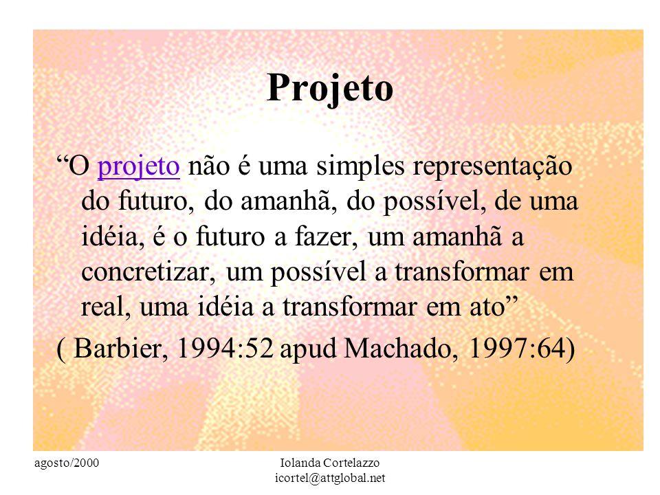agosto/2000Iolanda Cortelazzo icortel@attglobal.net Projeto O projeto não é uma simples representação do futuro, do amanhã, do possível, de uma idéia, é o futuro a fazer, um amanhã a concretizar, um possível a transformar em real, uma idéia a transformar em ato projeto ( Barbier, 1994:52 apud Machado, 1997:64)