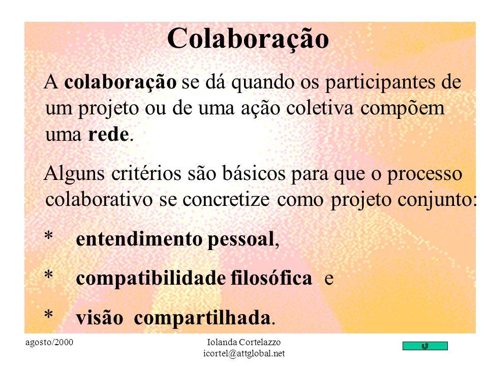 agosto/2000Iolanda Cortelazzo icortel@attglobal.net Colaboração A colaboração se dá quando os participantes de um projeto ou de uma ação coletiva compõem uma rede.