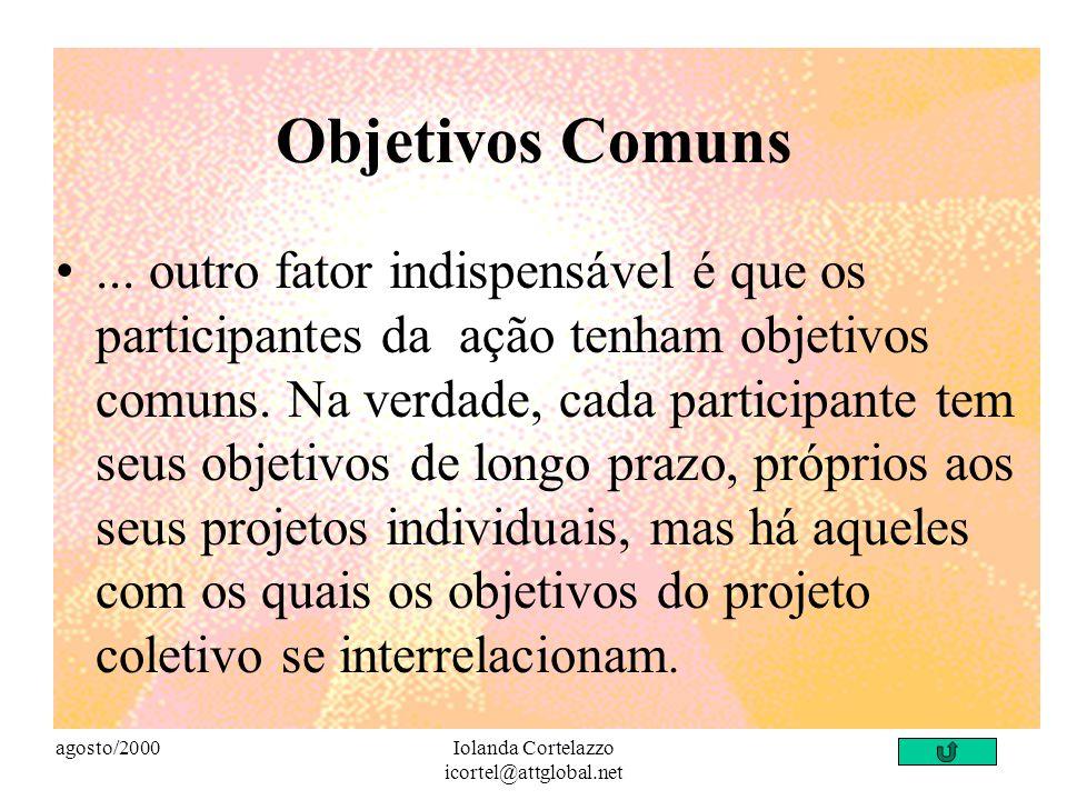 agosto/2000Iolanda Cortelazzo icortel@attglobal.net Colaboração A colaboração se dá quando os participantes de um projeto ou de uma ação coletiva comp