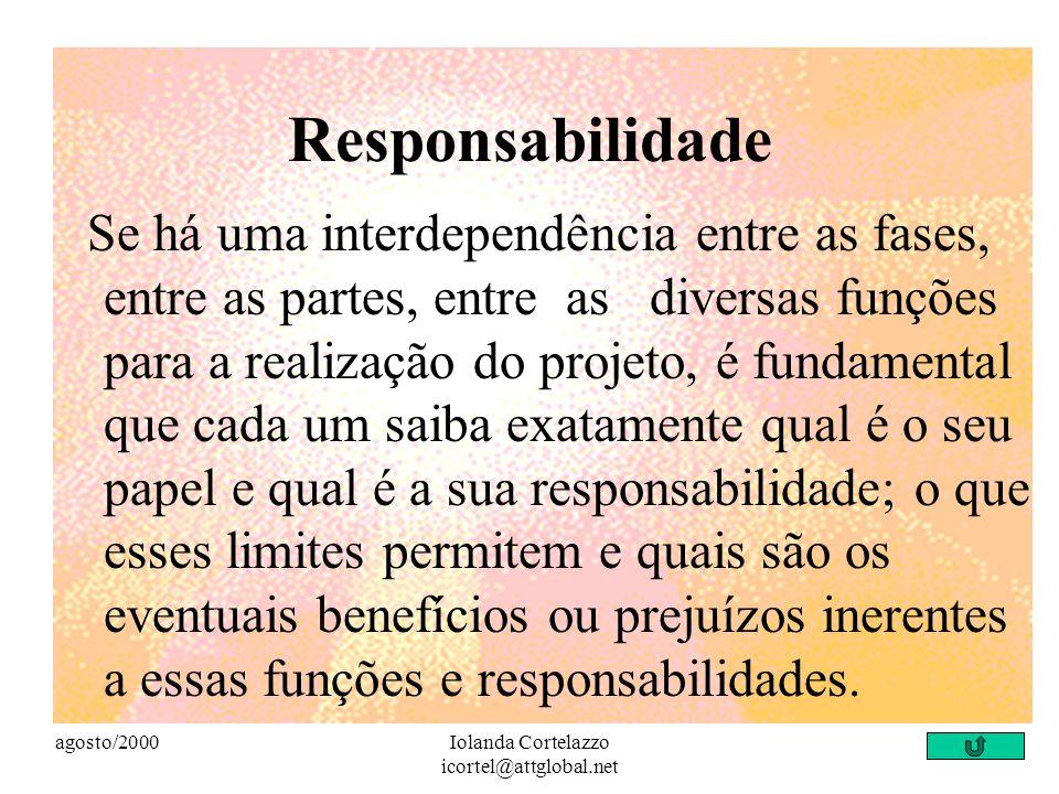 agosto/2000Iolanda Cortelazzo icortel@attglobal.net Objetivos Comuns... outro fator indispensável é que os participantes da ação tenham objetivos comu