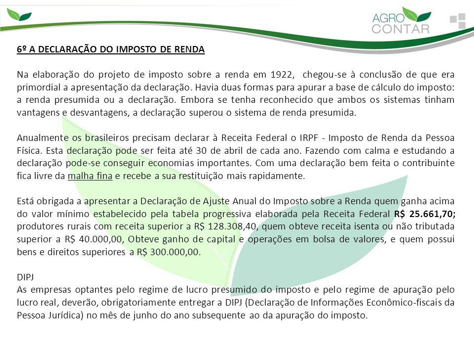 6º A DECLARAÇÃO DO IMPOSTO DE RENDA Na elaboração do projeto de imposto sobre a renda em 1922, chegou-se à conclusão de que era primordial a apresenta