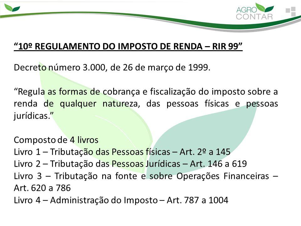 """""""10º REGULAMENTO DO IMPOSTO DE RENDA – RIR 99"""" Decreto número 3.000, de 26 de março de 1999. """"Regula as formas de cobrança e fiscalização do imposto s"""