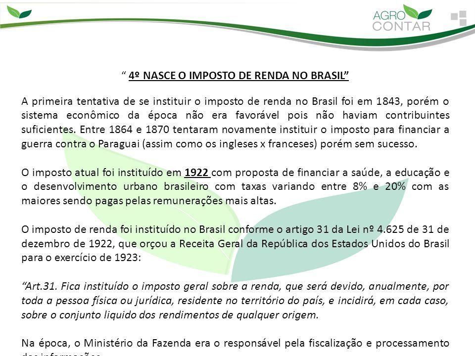 """"""" 4º NASCE O IMPOSTO DE RENDA NO BRASIL"""" A primeira tentativa de se instituir o imposto de renda no Brasil foi em 1843, porém o sistema econômico da é"""